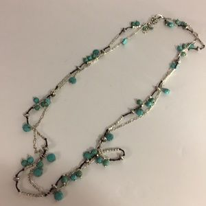 Double Chain Turquoise Costume Necklace